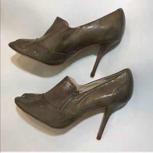 Zara W Olive Green Zipper Peep Toe Heel Booties
